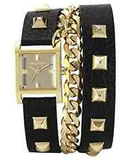 Vince Camuto VC/5088GMBK Square Gold-Tone Double-Wrap Black Leather Watch