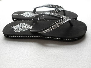 Women's Slip On Flip Flop Sandals Black Size S 5/6