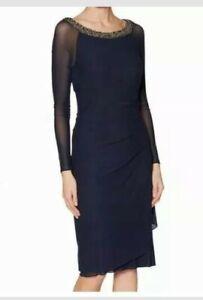 Gina Bacconi Patricia Beaded Neck Midi Long Sleeve Dress Navy {R45}