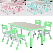 Kids Desk and Chairs Set Height Adjustable Childen Study Play Table w /Storager