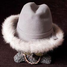 "Vintage Mr John Jr Ladies Excello USA 100% Wool Fur Trim Hat - 21.5"""
