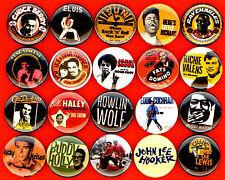 "Rock and Roll x 20 1"" button pin Elvis Gene Vincent Eddie Cochran Chuck Berry"
