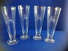Pilsner BEER GLASSES  Waterford Marquis  Miami Dolphins LARGE 20 oz NIB LAST ONE