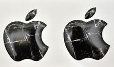 2x3D Domed Black Marble Apple logo stickers for iPhone,iPad cover. Size 35x30mm