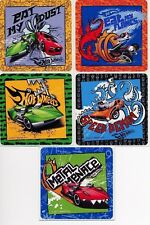 5 x Square Stickers ~ Hot Wheels Metal Menace Speed Demon Flames Eat My Dust ~