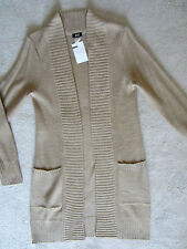 WOMENS H&M BEIGE LONG SLEEVE LONG LENGTH SWEATER 2 FRONT POCKETS SMALL COMFY NWT