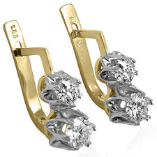 Russian Jewelry Genuine Diamond Earrings in 14k Solid Yellow Gold and Platinum