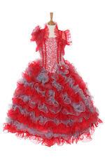 New Girl Glitz Pageant Party Wedding Ruffled Dress Bolero Red/Silver2 4 6 8 1012