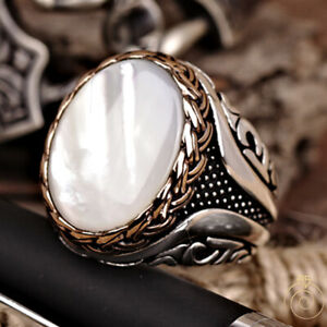 Mother Of Pearl Mens Promise Ring White Stone Engraved Band Vintage Cool Jewelry
