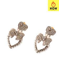 RRP €570 DOLCE & GABBANA Brass Dangle Earrings Bow Heart Crystals Silver Tone