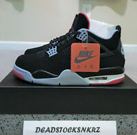 2019 Nike Air Jordan 4 OG Bred Black Cement Grey 308497 060 Men's & GS S 5.5Y-15