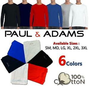 1 2 3 4 Pack Long Sleeve T Shirt Plain 100% Cotton Lot Tee Shirts Crew Neck Top