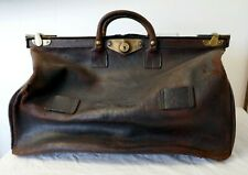 Large Antique Thick Leather Gladstone Travel Luggage Bag Property of C.S. Sorby