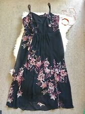 City Chic M/18 women maxi dress plus size black pink floral wedding party stretc
