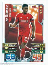 2015 / 2016 EPL Match Attax Base Card (131) Joe GOMEZ Liverpool