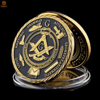 3D Hollow Masonic Tokens&Masonic Logo Gold Metal Commemorative Coin Collection