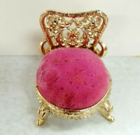 Vintage Gold Tone Chair Pin Cushion Needle Holder