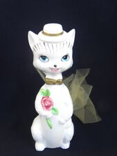 Vint. IW Rice White Ceramic Pottery Male Suiter Cat w/Blue Eyes Potpourri Figure