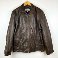 Vintage Marc New York Men's Brown Leather Jacket Size L Lambskin Shell