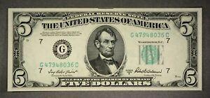 US $5 Federal Reserve Note Series 1950B G47948036C Green Seal Crisp!