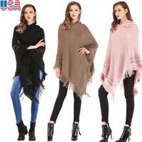 Womens Tassel Hood Sweaters Knit Batwing Poncho Cape Coat Cloak Batwing Outwear