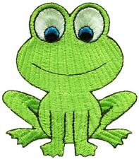 Green frog toad embroidered applique iron-on patch S-1489