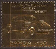 Zambia - 1986 Chrysler Automobile - 22K Gold Leaf Stamp - 26A-034