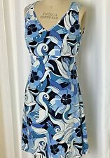 Columbia Empire  Dress PFG Blue  White Floral v neck  Women's Size small casual