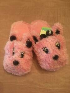 NWT Gymbree Giraffe Club Little Girls Slippers Sz 7/8 Pink Vintage Rare