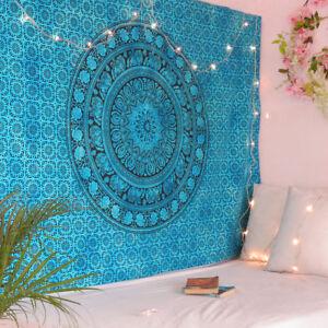 Tapestry Mandala Twin Wall Indian Hanging Teal Ombre Bohemian Mandala Home Decor