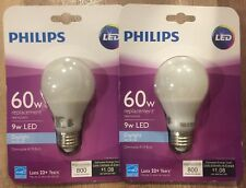 (LOT OF 2) NEW Phillips 60W Replacement 9W LED Daylight Dimmable Light Bulb