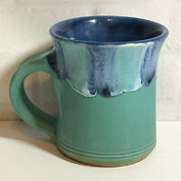 Studio Art Pottery Stoneware Coffee Mug Cup Artisan Signed Blue Green 1996