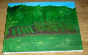 AMERICANA FOLK ART VEGETABLE GARDEN TOMATOES TOMATO NATURE LANDSCAPE PAINTING