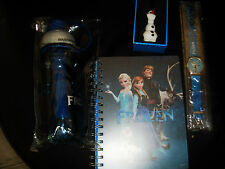 LOT DISNEY FROZEN LA REINE DES NEIGES MONTRE CALEPIN FIGURINE GOURDE
