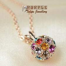 18CT Rose Gold Plated Colourful Ball Pendant Necklace MadeWith SWAROVSKI Crystal