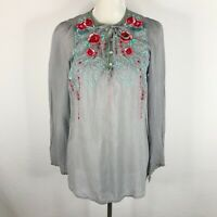 Johnny Was Blouse Size Small Gray Tunic Embroidered Tie Neck Buttons Long Sleeve