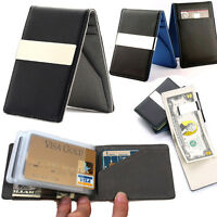 Pocket Leather Stylish wallet Credit Card holder Money clip travel for Men use