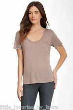 $99 NWT DAVID LERNER Scoop Neck Boyfriend Tee Shirt Top Dark Taupe ExtraSmall XS