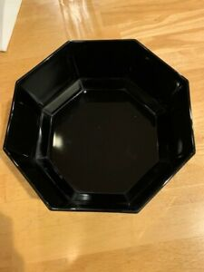 """Arcoroc Octime Big Serving Bowl Black Glass Octagon 9 1/8"""" made in France classy"""