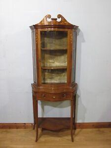 ANTIQUE EDWARDIAN INLAID MAHOGANY SINGLE DOOR DISPLAY CABINET CIRCA 1900