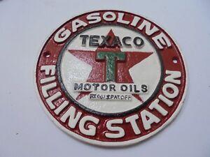 CAST IRON SIGN - TEXACO MOTOR OILS - VINTAGE WORLD AUSTRALIA