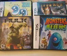 4 games- Incredible Hulk, spongebob, iron man, monsters vs aliens, Nintendo ds