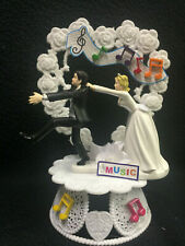 Funny Karaoke Singer Wedding cake topper. Adorable shy Reluctant Groom top Music