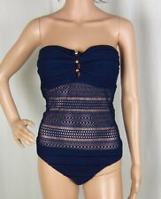 NWT Ralph Lauren Ava Crochet Strapless Bandeau Navy One-Piece Swimsuit Sz 12, 14