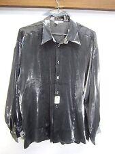 NWT St. Remo New York Club Shirt Party shiny silver 100% rayon check sz L