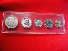 1958-D DENVER 5 COIN MINT SET ALL BU COINS 90% SILVER!!    #1
