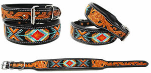 Padded Leather Dog Collar Beaded Floral Hand Tooled 60174