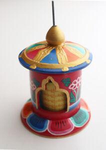 Handcrafted Painted Wooden Desktop Prayer Wheel