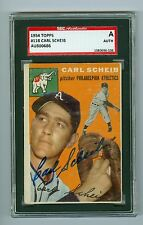 Carl Scheib Autographed Vintage 1954 Topps Card #118 A's SGC Authentic Encased
