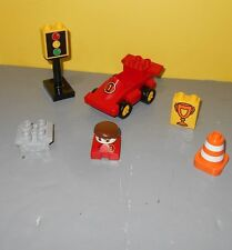 Older Duplo Lego Red #1 Race Car w/ Light Signal, Safety Cone, Driver Head